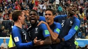 France celebrate Samuel Umtiti's goal vs Belgium