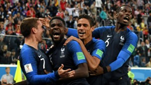 France celebrate Samuel Umtiti's goal vs Belgium