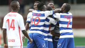 AFC Leopards players celebrates Whyvonne Isuza.