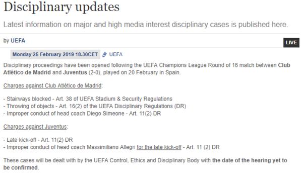 UEFA le abrió un expediente disciplinario a Simeone