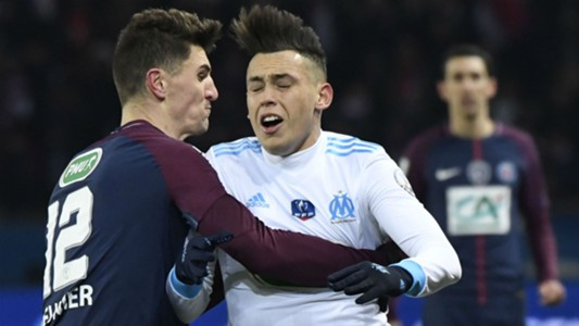 Lucas Ocampos Thomas Meunier PSG Marseille Coupe de France 28022018