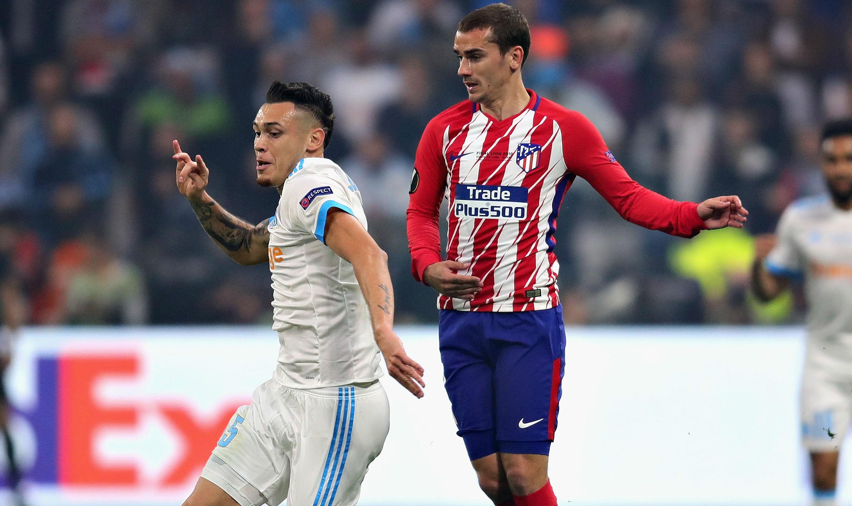 Lucas Ocampos Antoine Griezmann Marseille Atletico Madrid UEFA Europa League 16052018