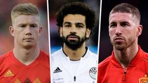 Kevin De Bruyne, Mohamed Salah, Sergio Ramos