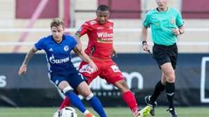 Max Meyer of Schalke and Andile Jali of KV Oostende