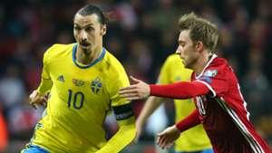 Zlatan Ibrahimovic Sweden Christian Eriksen Denmark 2015