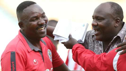 Ulinzi Stars coach Benjamin Nyangweso and Joe Birgen.