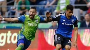Matheus Silva Clint Dempsey San Jose Earthquakes Seattle Sounders MLS 2016