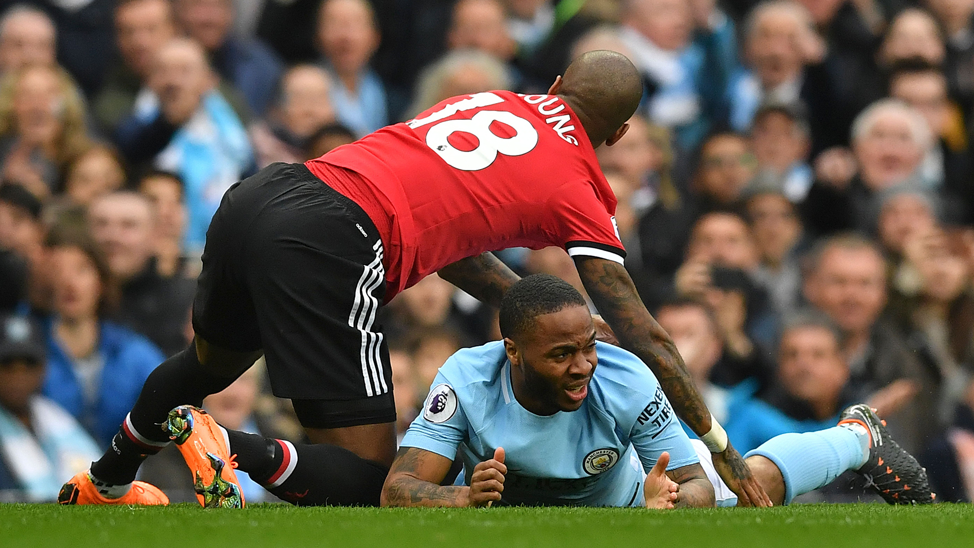 Ashley Young Raheem Sterling Manchester City Manchester United Premier League