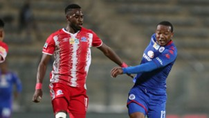 Thuso Phala of SuperSport United challenged by Fortune Makaringe of Maritzburg United