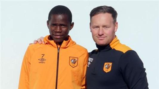 Joshua Otieno and Hull City Academy coach Richard O'Donnell