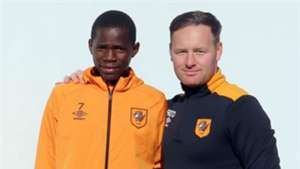 Joshua Otieno and Hull City Academy coach Richard O'Donnell