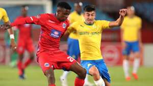 Mamelodi Sundowns v SuperSport United Emiliano Tade and Teboho Mokoena, April 2019