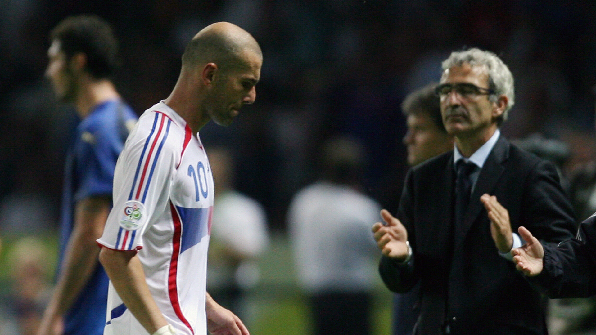 Zinedine Zidane and Raymond Domenech in the World Cup final in 2004