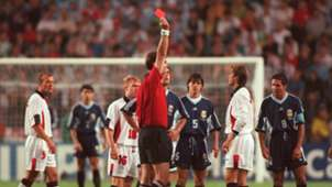 David Beckham, England, 1998 World Cup vs Argentina, Red Card