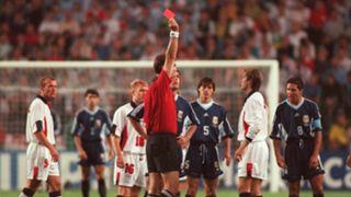 David Beckham, England, 1998 World Cup vs Argentina, Red Card