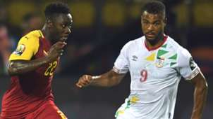 Ghana defender Andy Yiadom and Benin's Steve Mounie during the 2019 Africa Cup of Nations