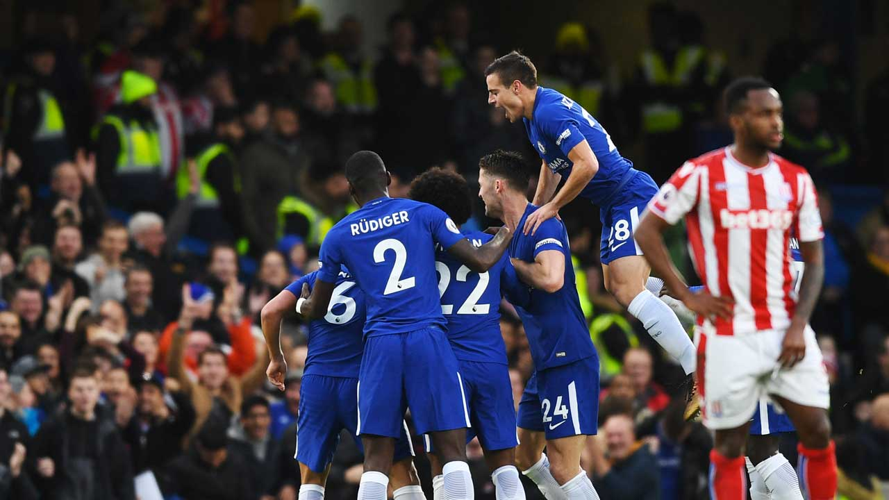 Chelsea after Rudiger goal versus Stoke City