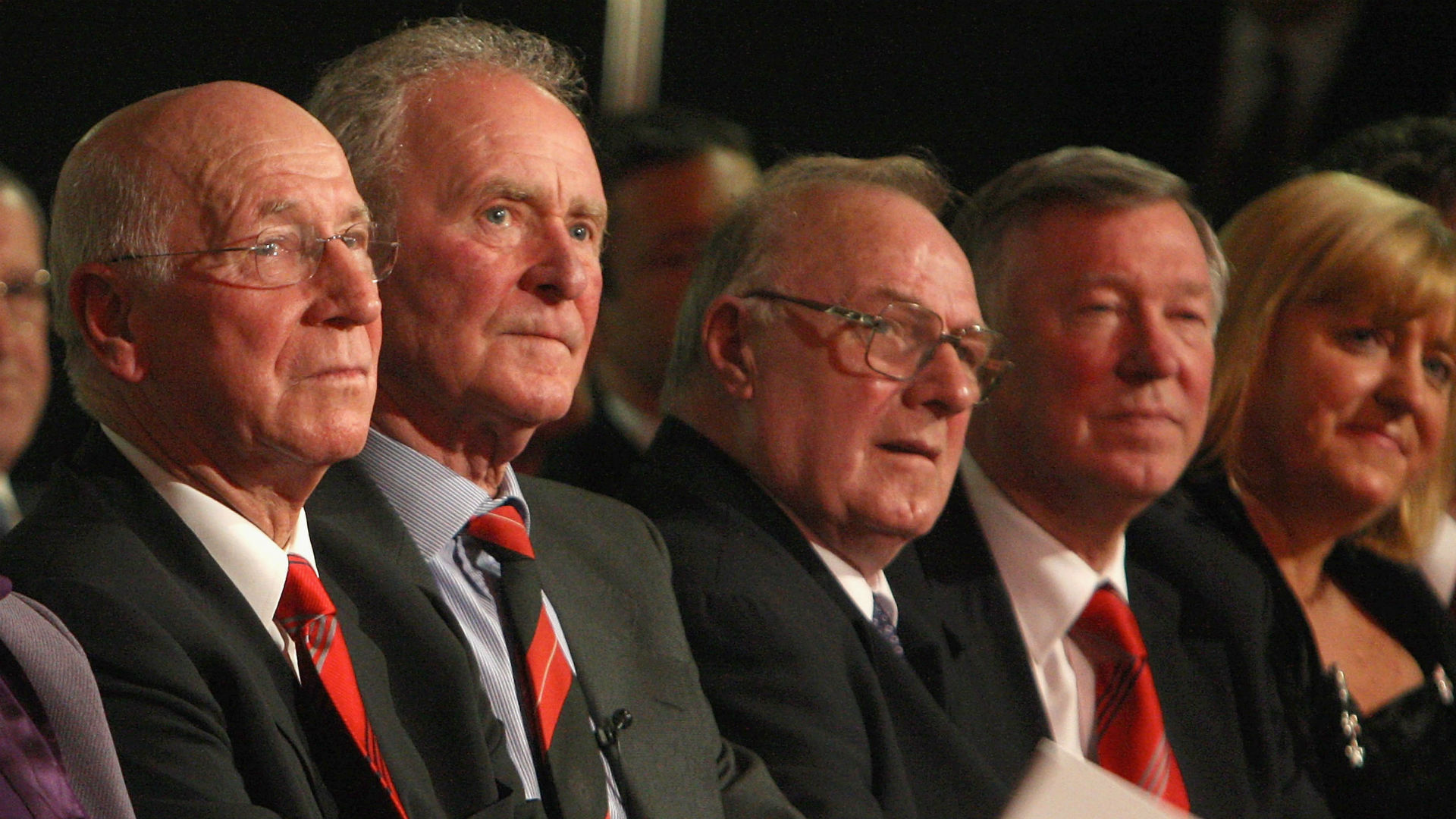 Bobby Charlton Harry Gregg Albert Scanlon Alex Ferguson Manchester United 2008