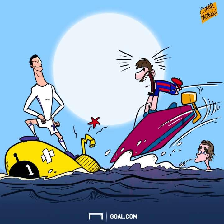 Cartoon Cristiano beats the submarine