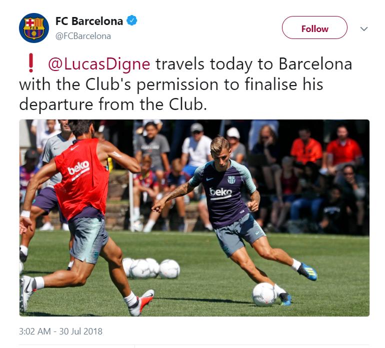 Barcelona Lucas Digne departure