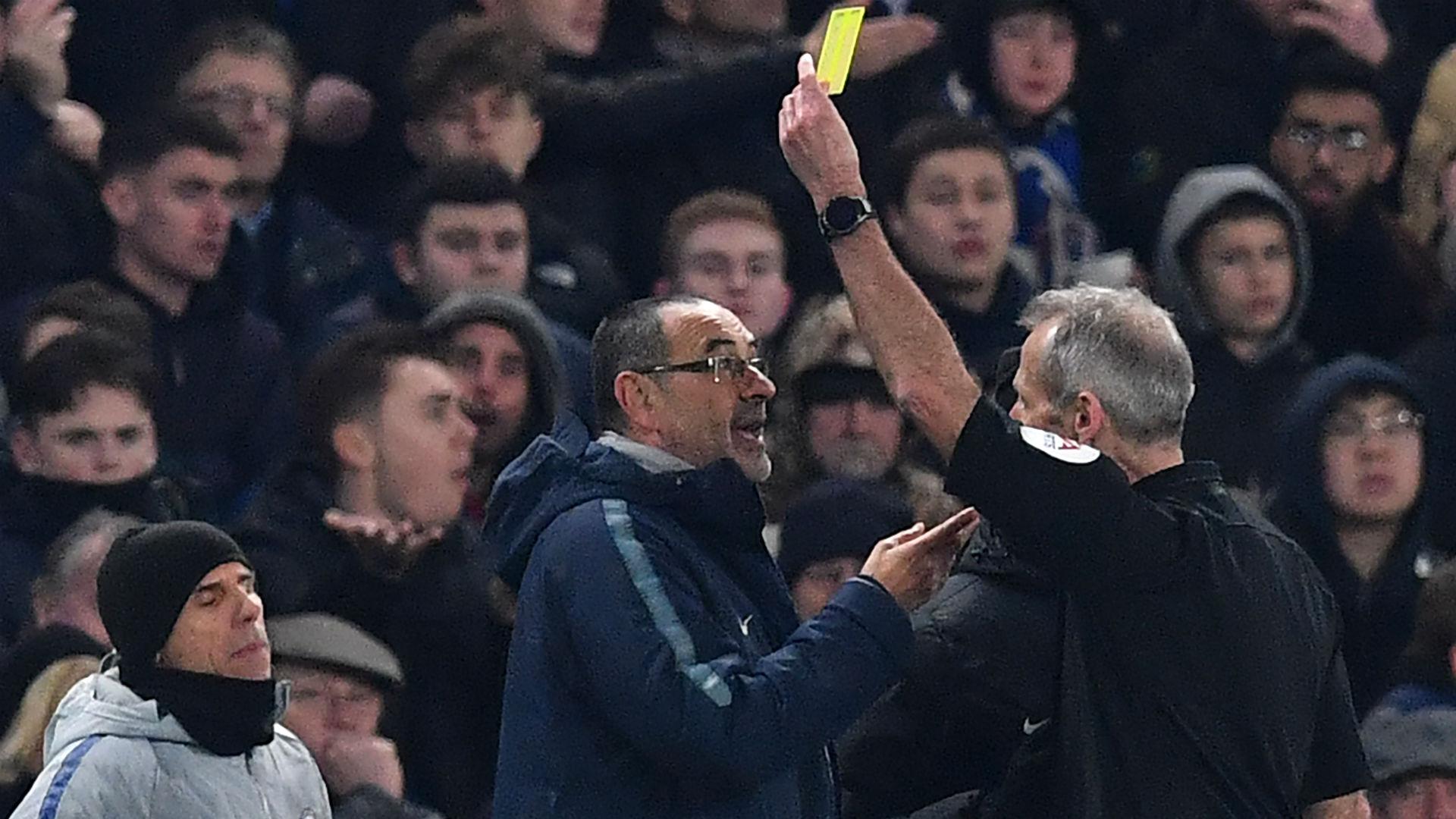 Maurizio Sarri Chelsea yellow card