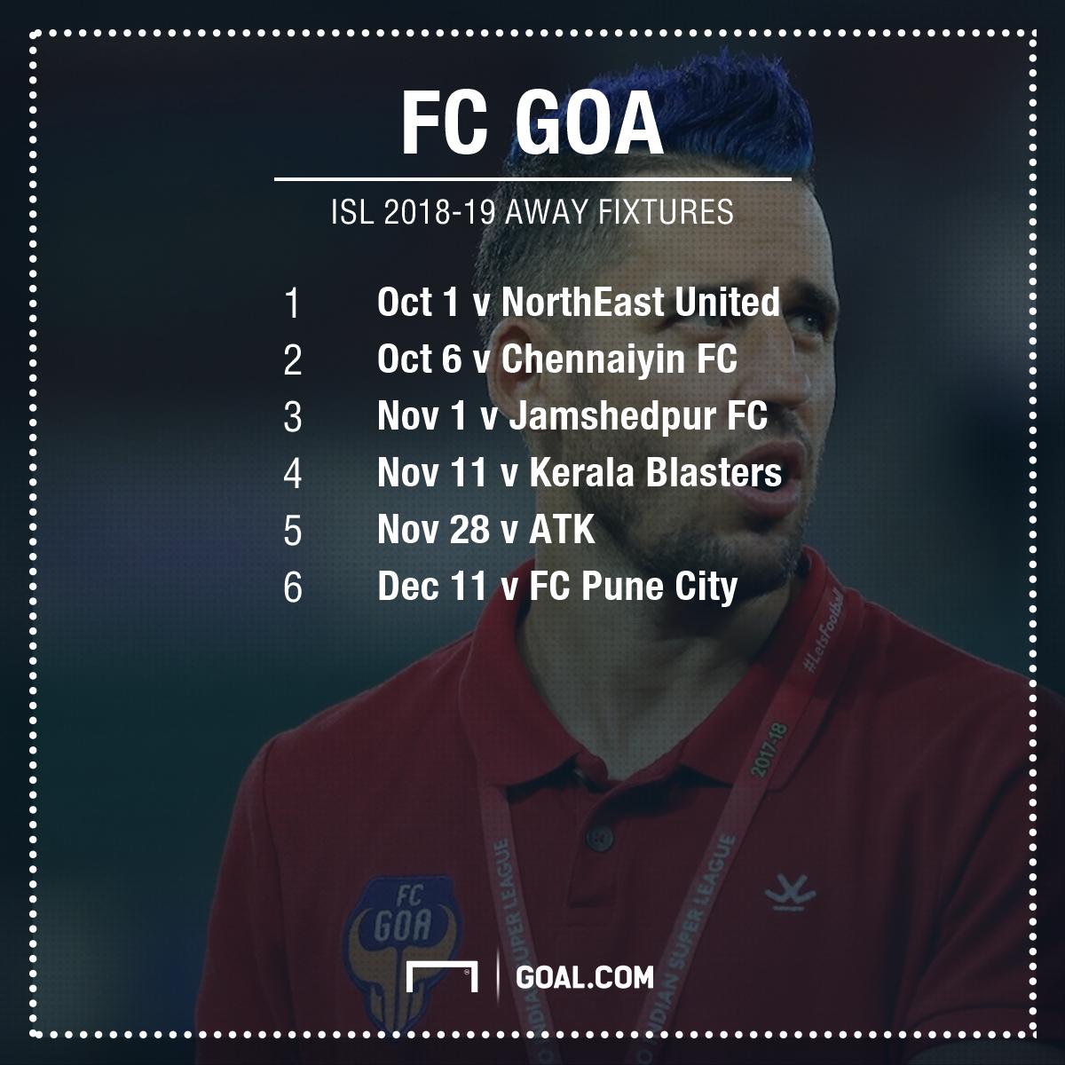 ISl 2018-19 FC Goa fixtures away