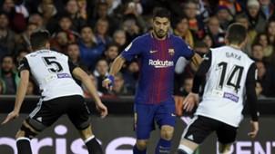 Valencia Barcelona 02082018 Copa del Rey Luis Suarez Gaya Gabriel Paulista