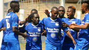 Bandari players celebrate v Thika United.