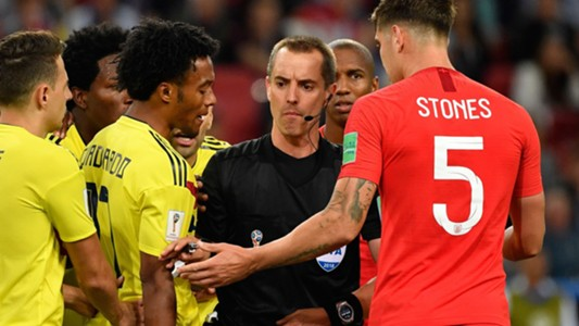 Mark Geiger referee John Stones Cuadrado Colombia England World Cup 03072018