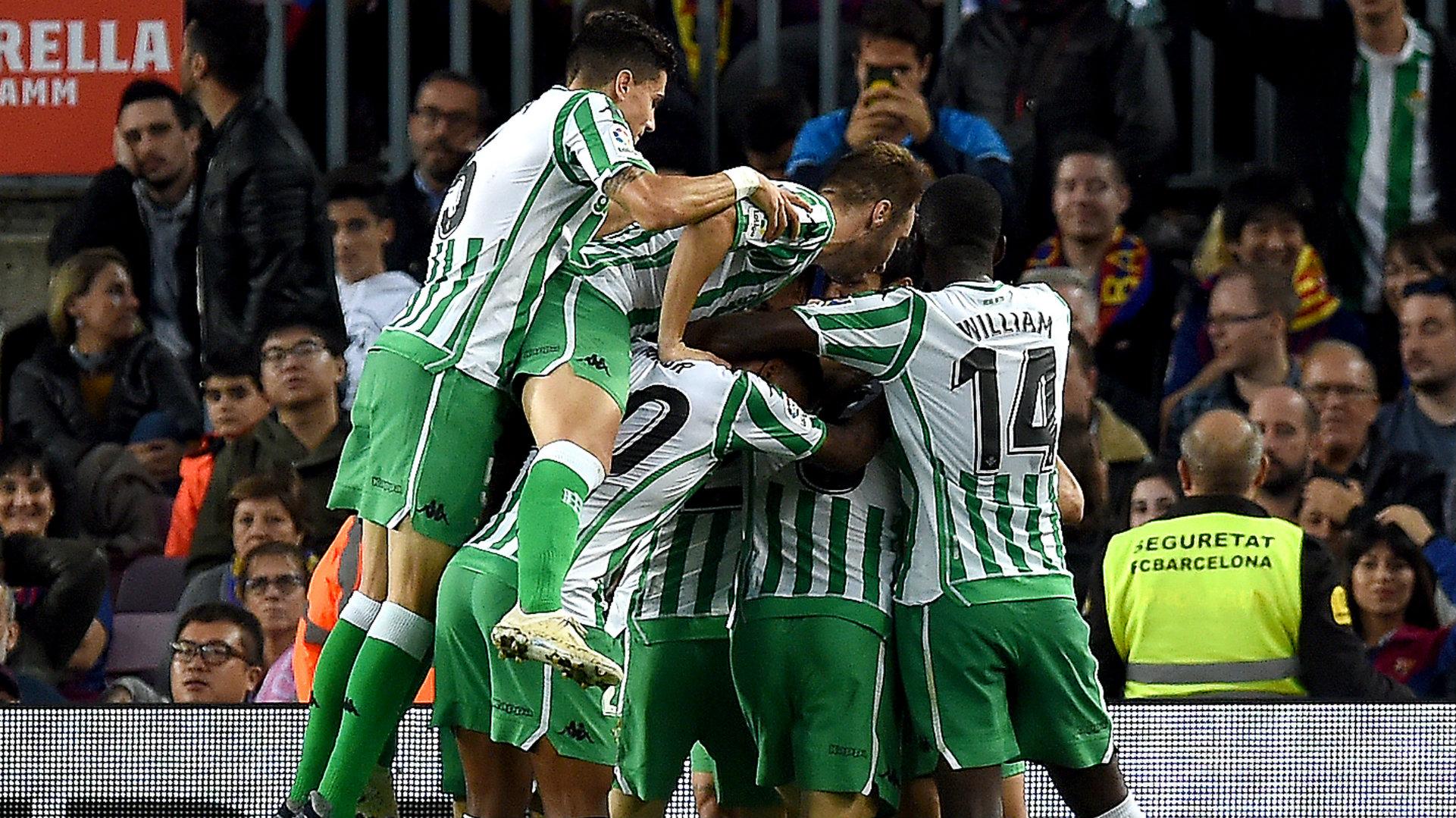 Real Betis celebration vs Barcelona La Liga 2018-19