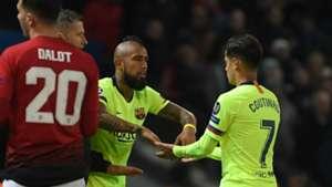 100419 Arturo Vidal Coutinho Dalot Manchester United Barcelona