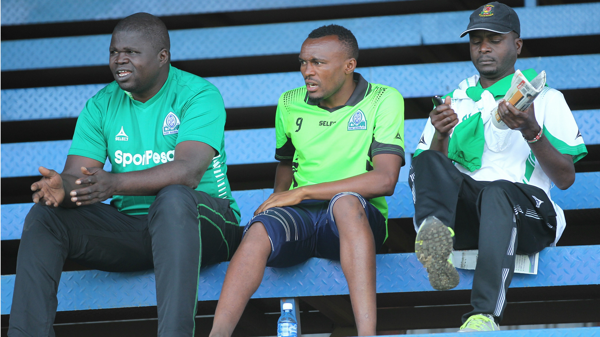 Gor Mahia striker Jacques Tuiyesenge watches from stands.