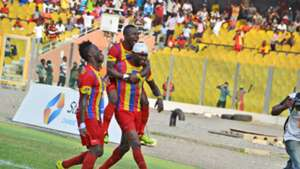 Hearts of Oak players celebrating goal