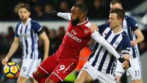 Alexandre Lacazette Arsenal Jonny Evans West Bromwich Albion