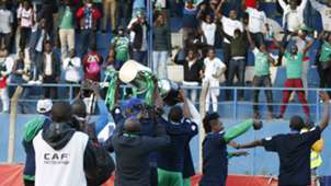 Gor Mahia players with KPL Trophy and fans.