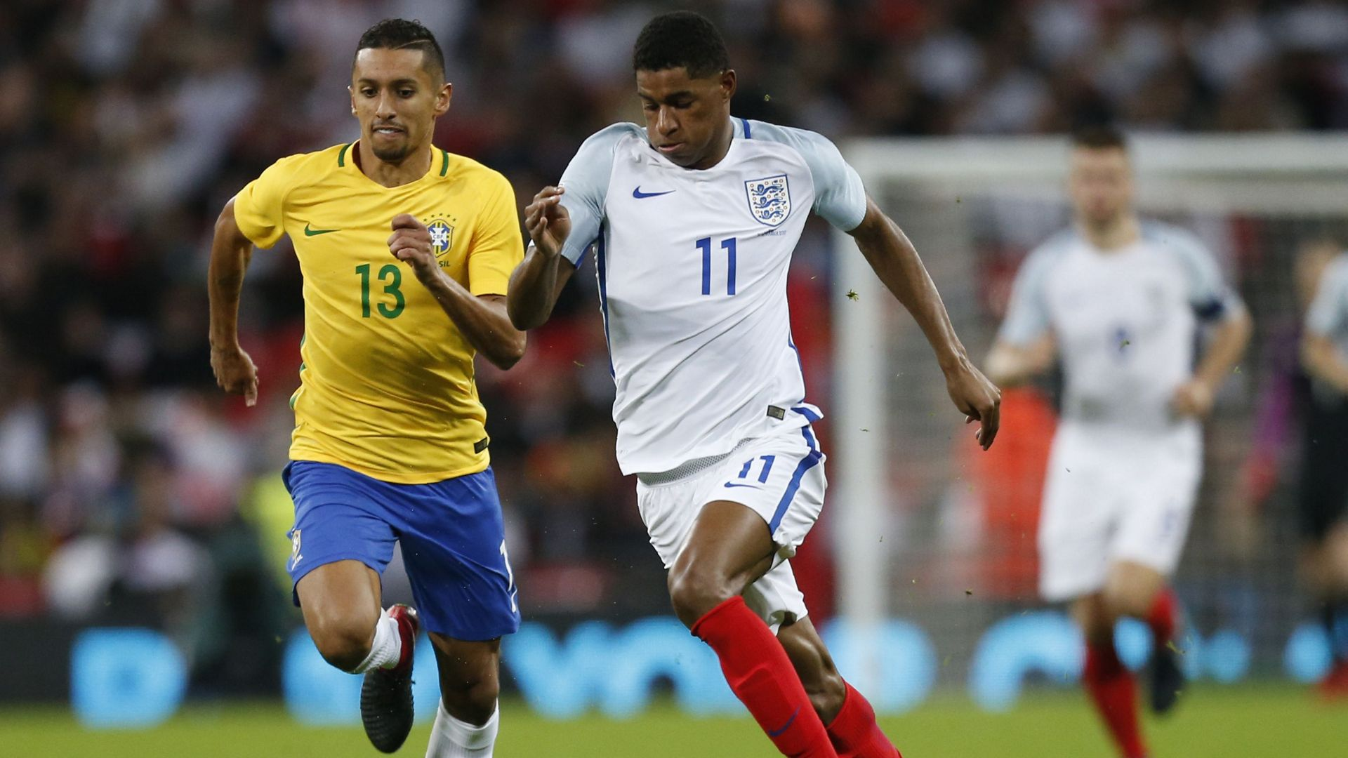Marquinhos Marcus Rashford England Brazil Friendly 14112017