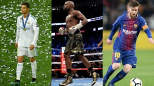 Collage Messi Ronaldo Mayweather
