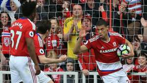 Rudy Gestede Middlesbrough celebrate v Man United