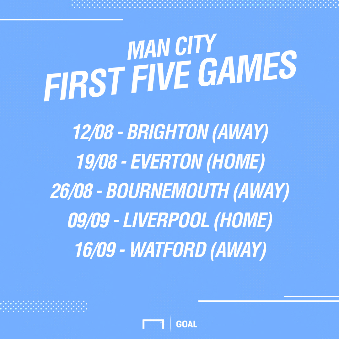 Man City first five fixtures
