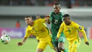 Grant Margeman and Sibongakonke Mbatha of South Africa U20 challenged by Boyd Musonda of Zambia U20