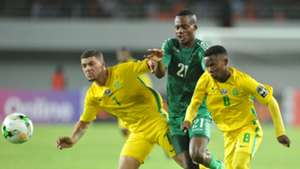 Grant Margeman and Sibongakonke Mbatha of South Africa U20 challenged by Boyd Musonda of Zambia U20