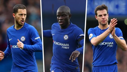 Hazard, Kante, Azpilicueta, Chelsea