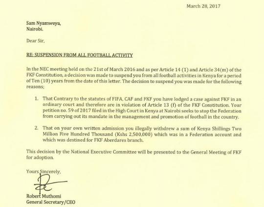 FKF ban Sam Nyamweya