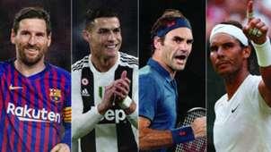 Lionel Messi, Cristiano Ronaldo, Roger Federer, Rafael Nadal