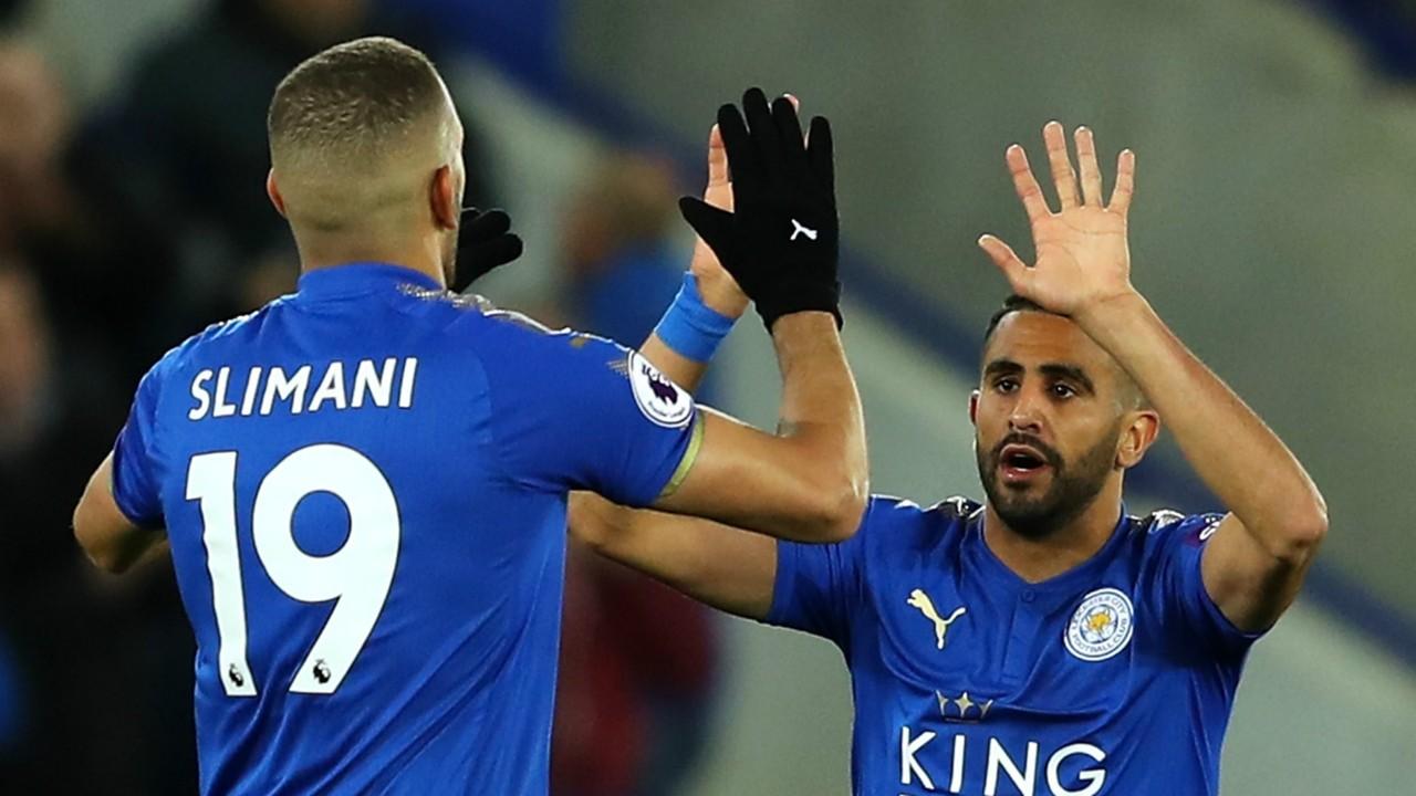 Islam Slimani Riyad Mahrez Leicester City