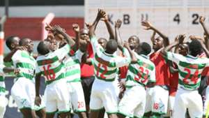 Nzoia Sugar celebrates goal against Tusker