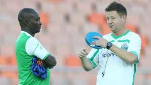 Gor Mahia coach Zedekiah Otieno and Dylan Kerr