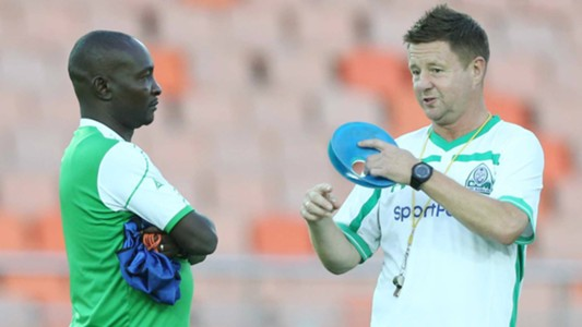 Gor Mahia coach Zedekiah Otieno and Dylan Kerr