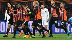 Shakhtar celebrating vs Roma Champions League