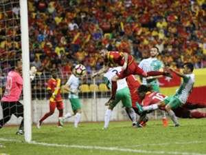 Selangor's Victor Astafei (in the air) heading in his team's equaliser against Melaka United 27/1/2017